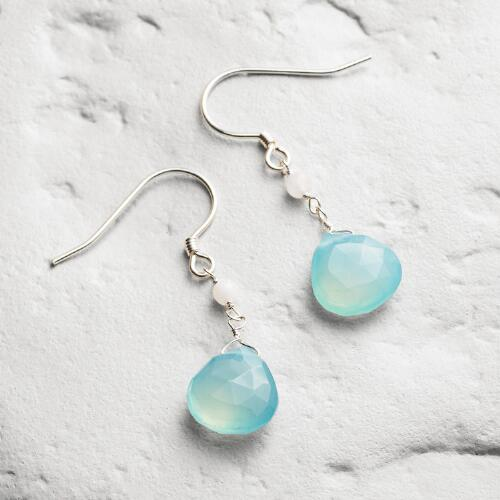 Aqua Teardrop Earrings