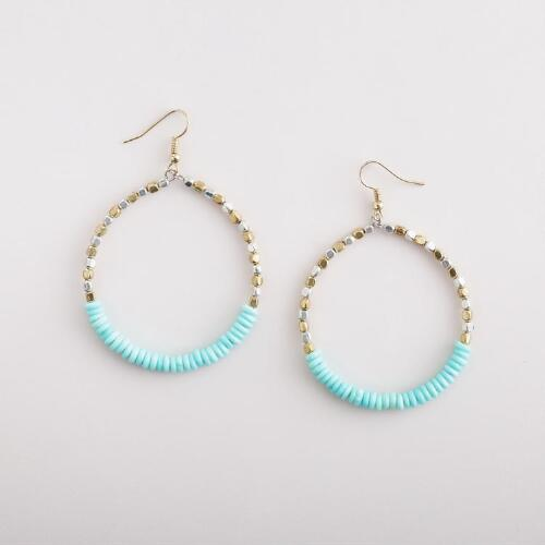 Aqua and Gold Silver Hoop Earrings