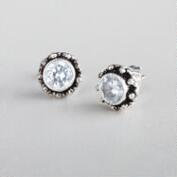 Cubic Zirconia Tribal Stud Earrings