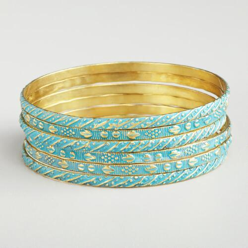 Blue and Gold Bangles, Set of 6
