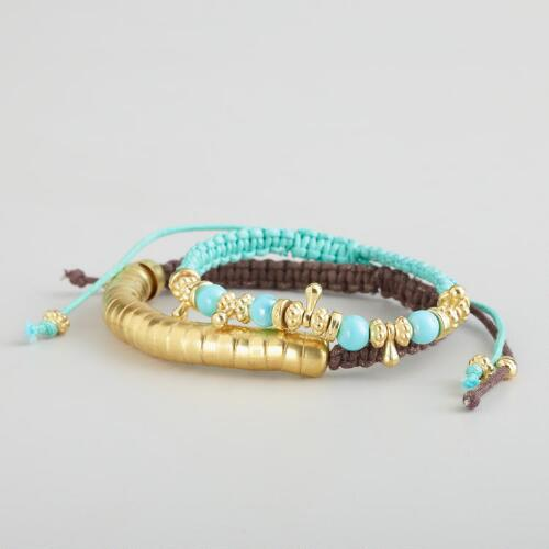 Aqua and Brass Friendship Bracelets, Set of 2