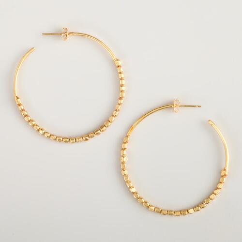 Small Gold Bead Hoop Earrings