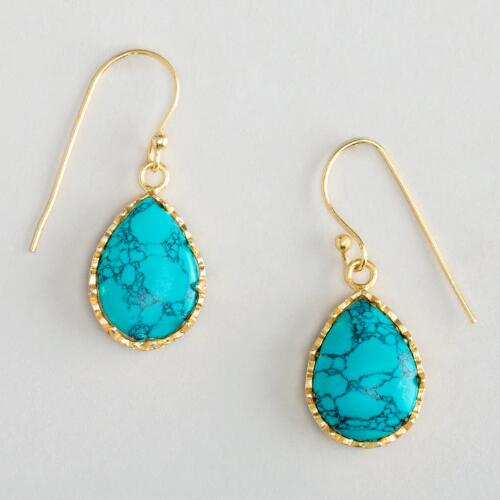 Turquoise and Gold Oval Drop Earrings