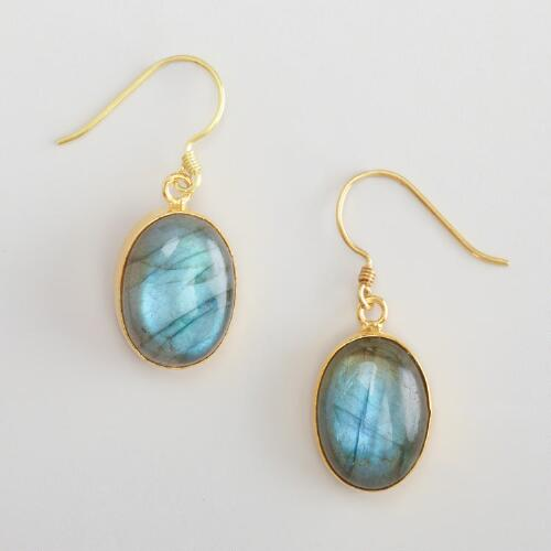 Labradorite and Gold Drop Earrings