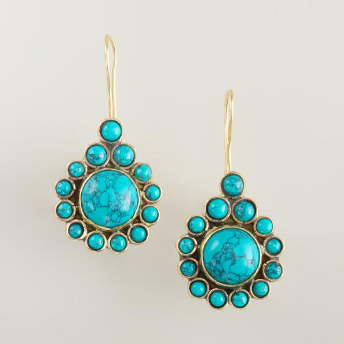 Turquoise Flower Teardrop Earrings