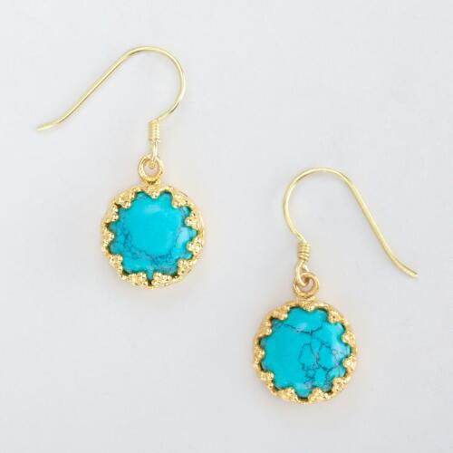 Turquoise and Gold Etched Drop Earrings