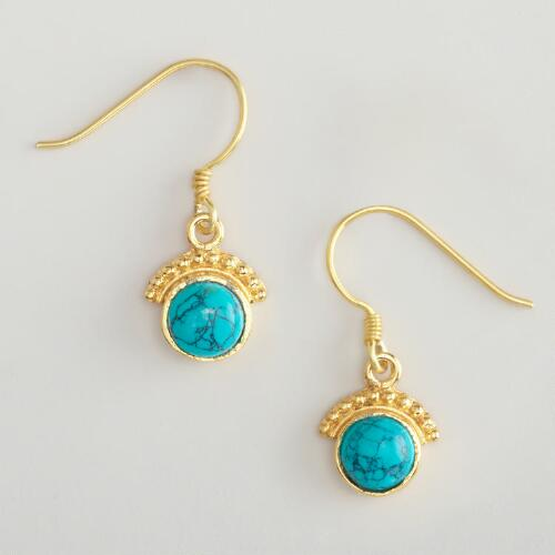 Turquoise and Gold Fan Drop Earrings