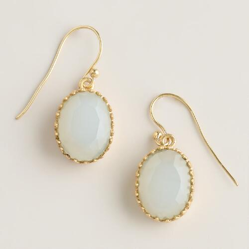 White and Gold Drop Earrings