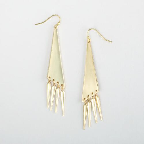 Gold Triangle Dangle Earrings