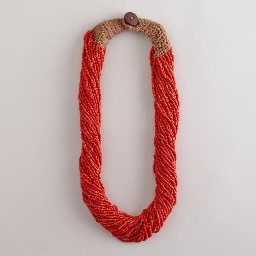Red Multi-Strand Seed Bead Necklace