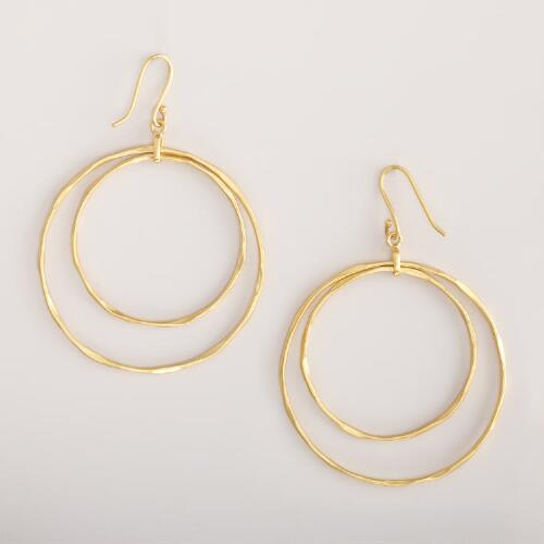 Gold Double Circle Hoop Earrings