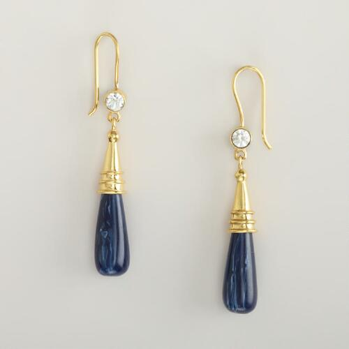Navy and Gold Drop Earrings