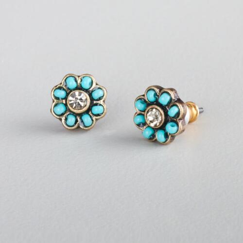 Small Turquoise Flower Stud Earrings