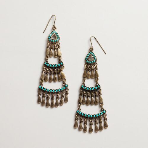 Turquoise and Gold Three Tier Earrings
