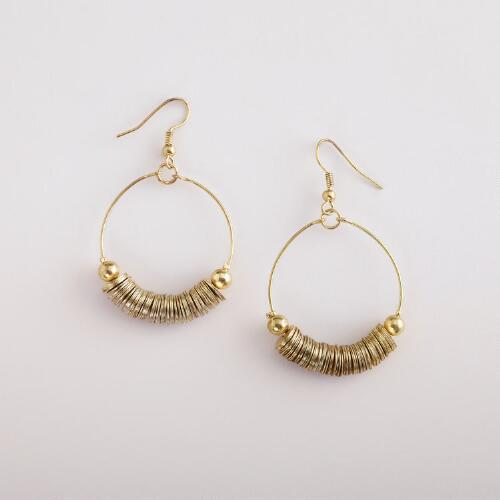 Gold Discs Hoop Earrings