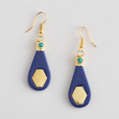 Lapis and Gold Drop Earrings