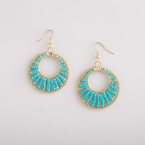 Gold and Turquoise Seed Bead Hoop Earrings