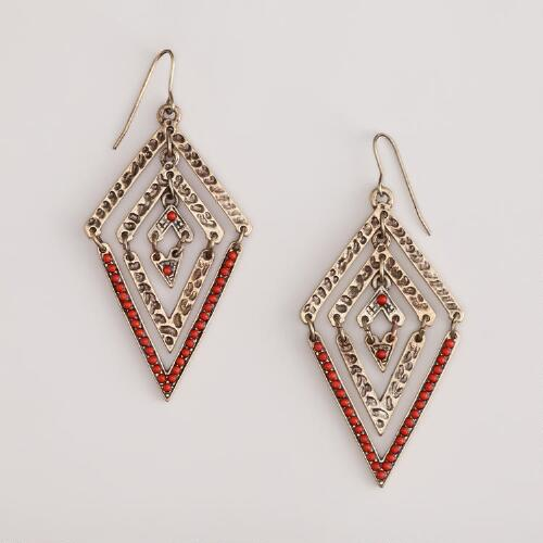 Coral and Gold Triangle Earrings