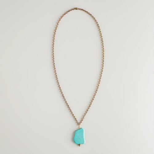 Gold Chain and Turquoise Pendant Necklace