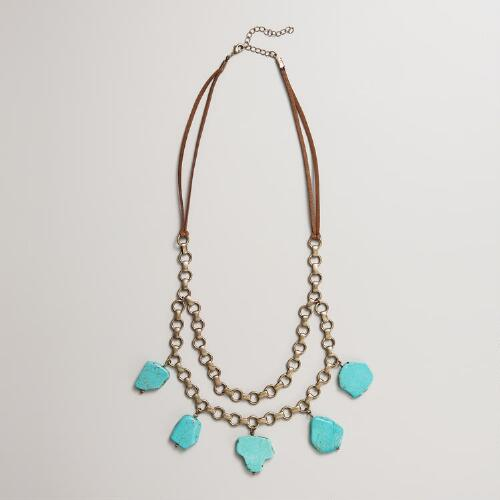 Gold Necklace with Turquoise Stones