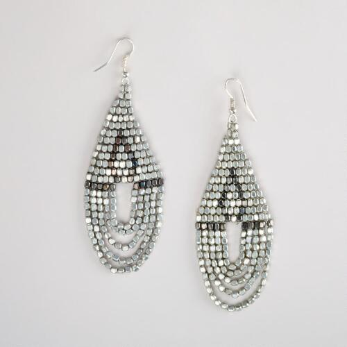 Silver Bead Chandelier Earrings
