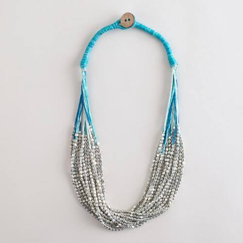 Silver Bead and Blue Thread Multi-Strand Necklace