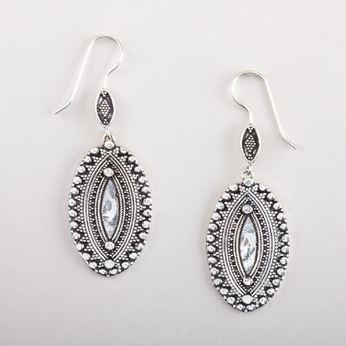 Silver Oval Etched Drop Earrings