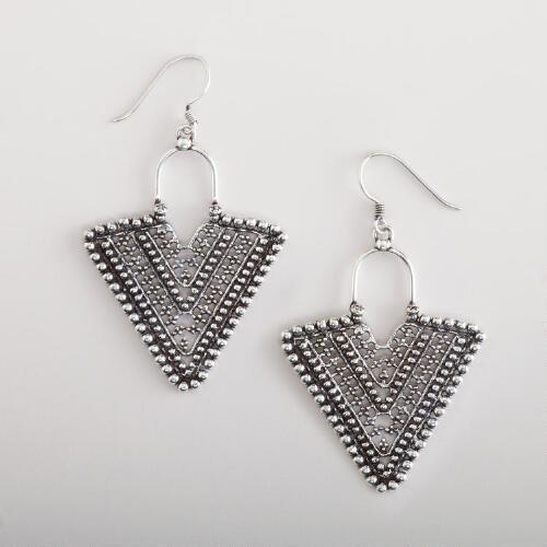 Silver Triangle Etched Drop Earrings