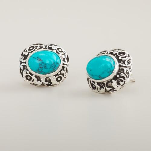 Round Silver and Turquoise Etched Stud Earrings