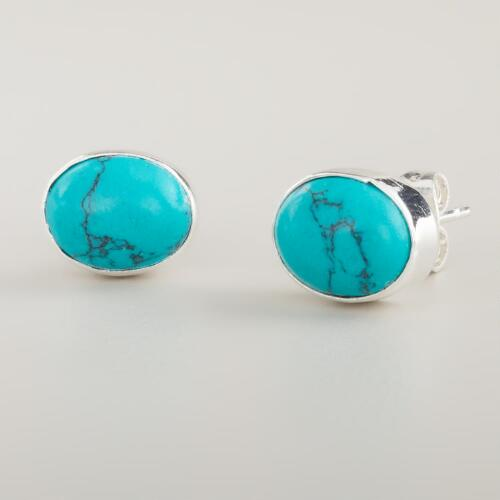 Oval Silver and Turquoise Stud Earrings