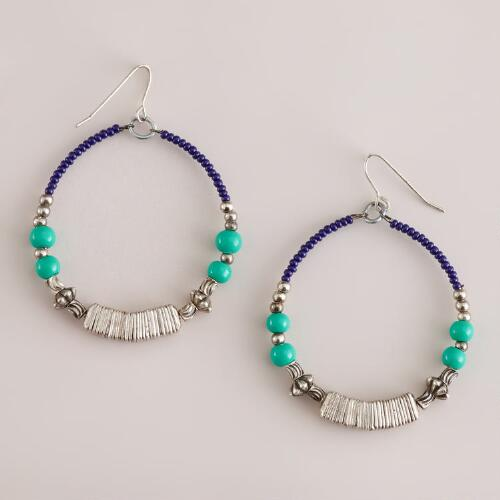 Silver, Blue and Turquoise Beaded Hoop Earrings
