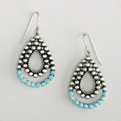 Turquoise and Silver Teardrop Earrings