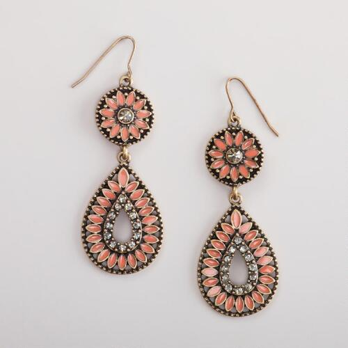 Coral Enamel Chandelier Earrings