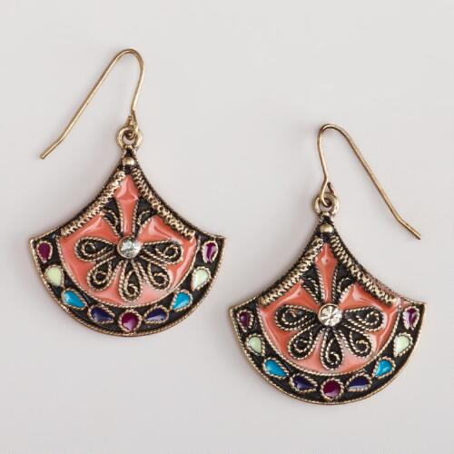 Coral Enamel Drop Earrings