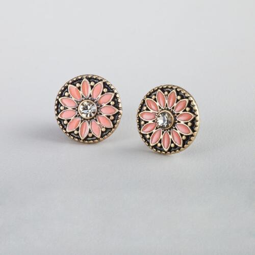 Coral Enamel Stud Earrings