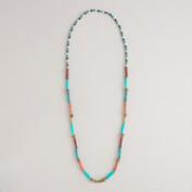 Gold, Coral and Turquoise Bead Necklace