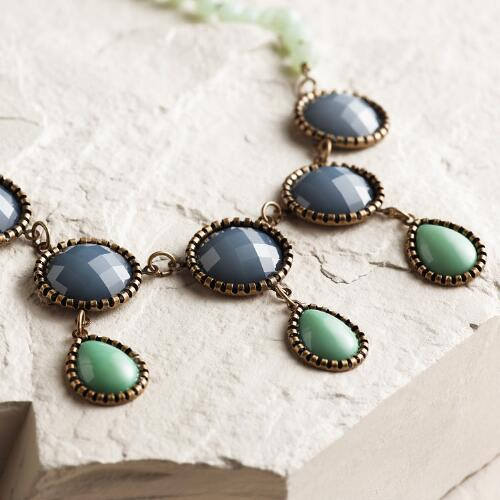 Blue and Green Statement Necklace