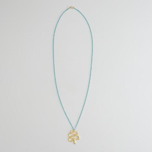 Blue Chain and Gold Snake Necklace