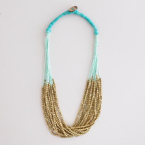Gold Bead and Aqua Thread Multi-Strand Necklace