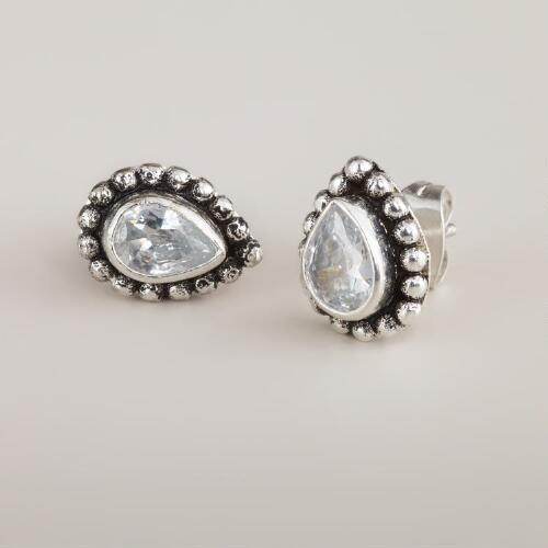 Cubic Zirconia Teardrop Stud Earrings