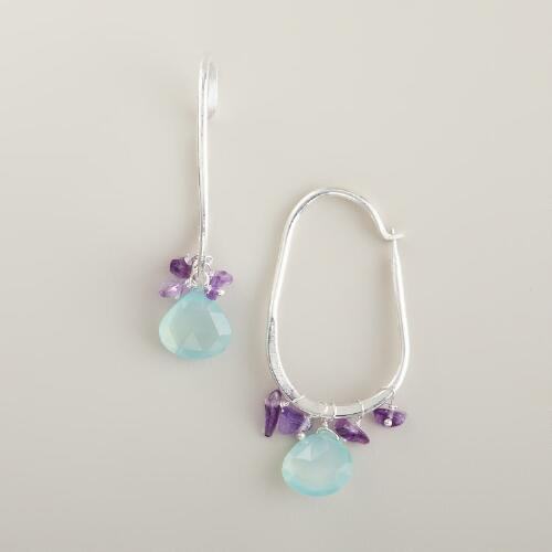Aqua and Amethyst Glass Hoop Earrings