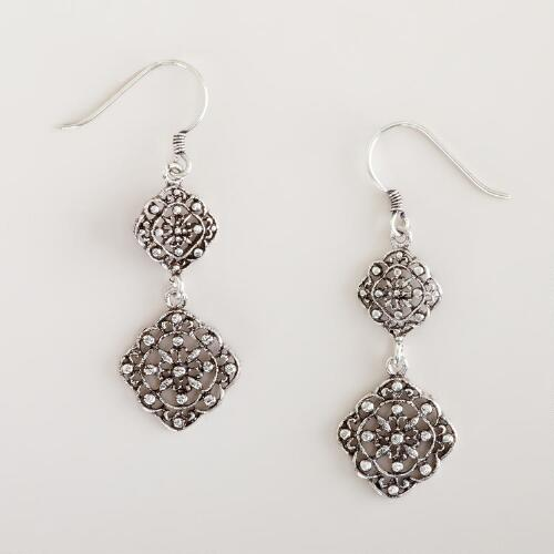 Silver Etched Double Drop Earrings