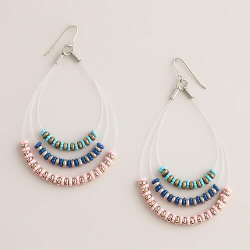 Pink and Blue Three-Tiered Earring With Nylon Cord