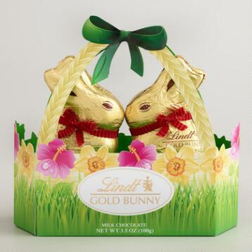 Lindt Milk Chocolate Gold Bunnies in Basket, 2-Piece