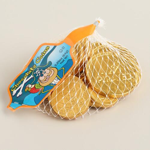 Steenland Mesh Bag of Chocolate Pirate Coins, Set of 6