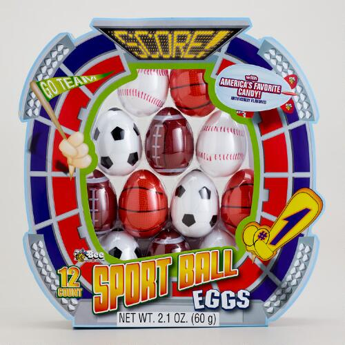 Bee International Sports Ball Eggs with Candy, 12-Count