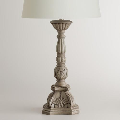 Gray Candlestick Table Lamp Base