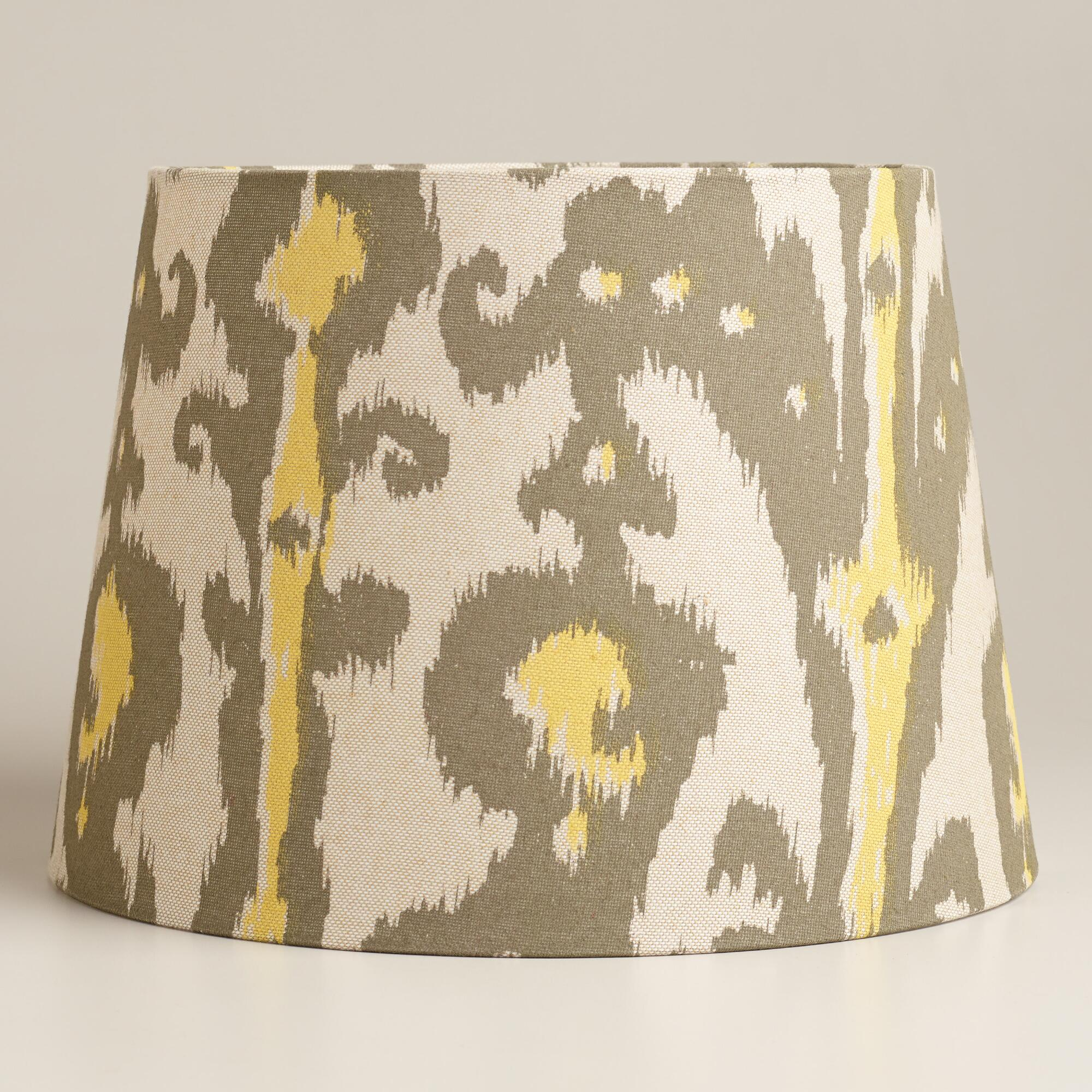 yellow and gray ikat table lamp shade world market. Black Bedroom Furniture Sets. Home Design Ideas