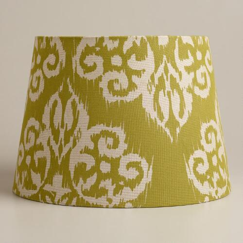 Natural and Green Ikat Table Lamp Shade