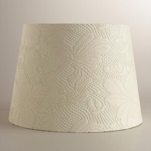Ivory Lace Hibiscus Table Lamp Shade